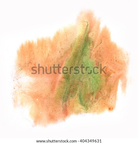 ink splatter watercolour dye brown green liquid watercolor macro spot blotch texture isolated on white background - stock photo