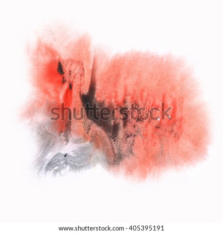 ink splatter watercolour dye liquid watercolor black red macro spot blotch texture isolated on white background - stock photo