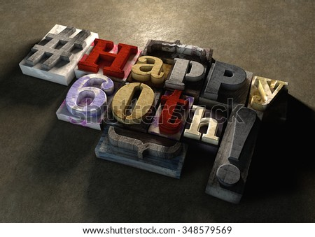 Ink splattered printing wood blocks with grungy Happy 60th birthday typography. Social media hashtag gives a modern edgy graphic design feel. Trendy happy birthday title, for use on birthday card.