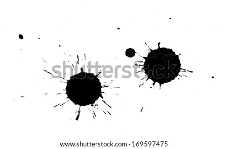 Ink splotches on a white paper