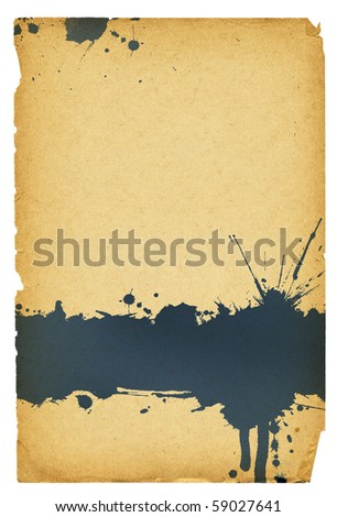 Ink stain on old paper with torn edges. Isolated on white, with space for text. - stock photo