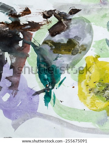 ink stains on white paper - stock photo