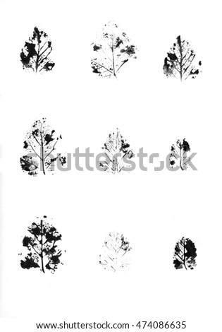 Ink stamp of a leaf. Seasons changing. Eco nature.