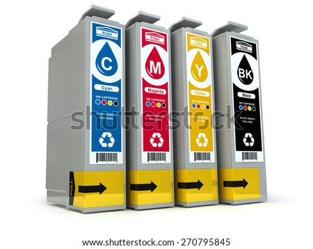 Inkjet CMYK printer cartridges isolated on white. 3d - stock photo