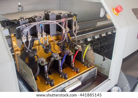 Inkjet high quality outdoor ecosolvent printer. - stock photo