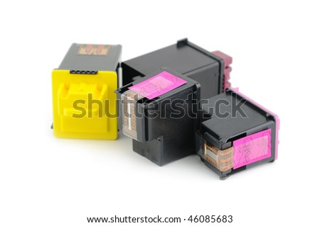 Inkjet printer cartridges isolated on a white background - stock photo