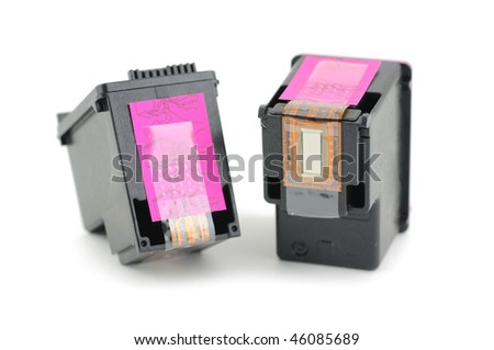 Inkjet printer cartridges isolated on a white background