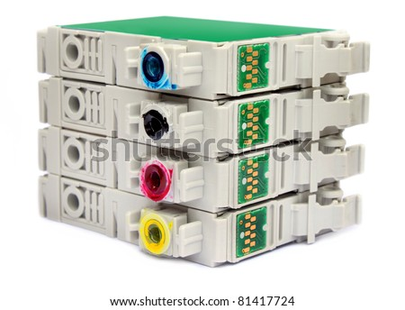 Inkjet printer cartridges over white background - stock photo