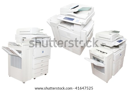 inkjet printers under the white background - stock photo