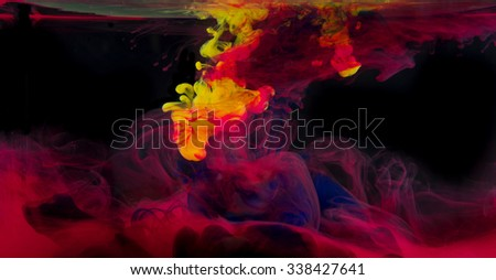 inks in water, color explosion - stock photo