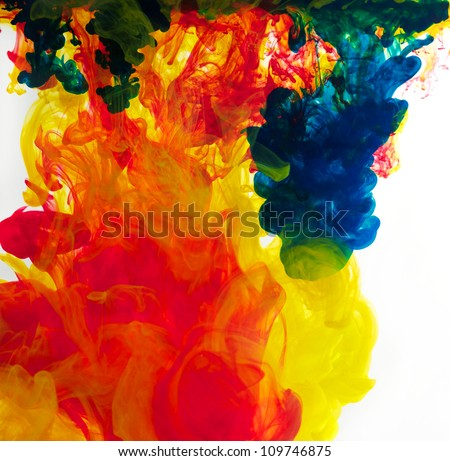 inks in water, colorful abstraction - stock photo