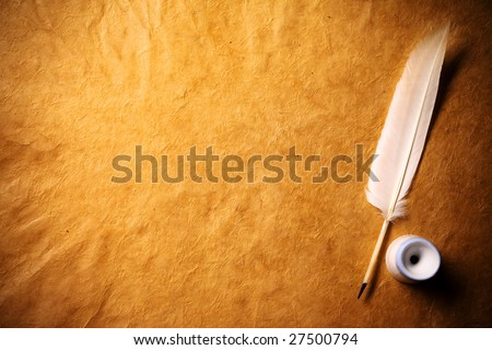 Inkwell and feather on a background of the empty form for the letter - stock photo