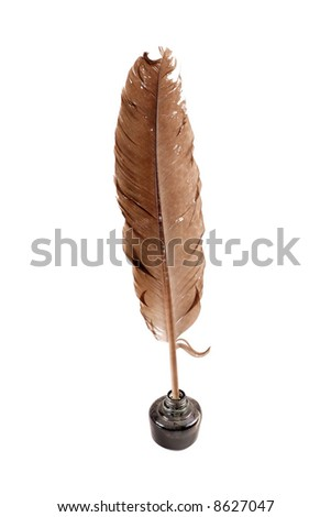 Inkwell and feather on a white background - stock photo