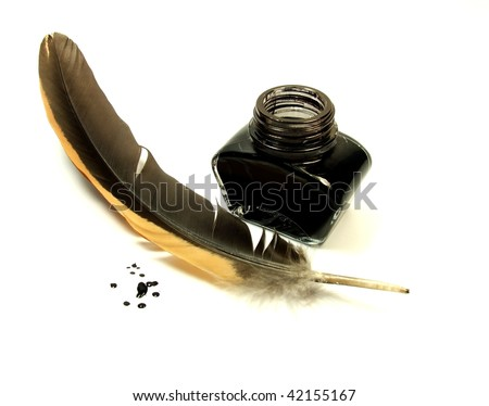 Inkwell and quill - stock photo