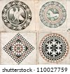 Inlaid marble ornaments on the walls of the 12th century Cathedral of St Martin in Lucca, Italy - stock photo