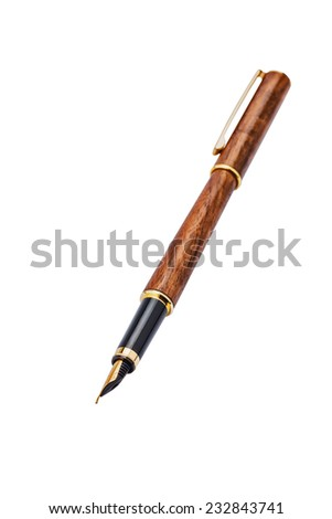 inlaid wood pen with gold nib,  isolated - stock photo