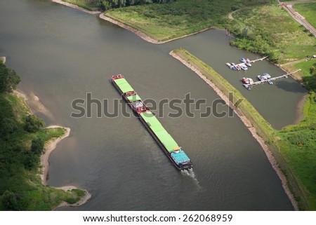inland waterway on the River Elbe bird's-eye view - stock photo