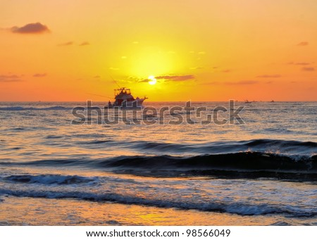 Inlet Park near West Palm Beach, Florida / Sunrise Fishing - stock photo