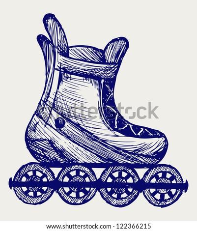 Inline skate. Doodle style. Raster version - stock photo