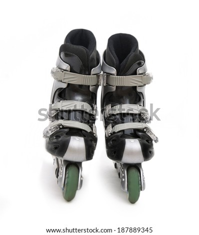 Inline skate isolated on white - stock photo
