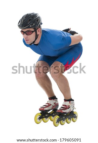 Inline skater in basic position - stock photo