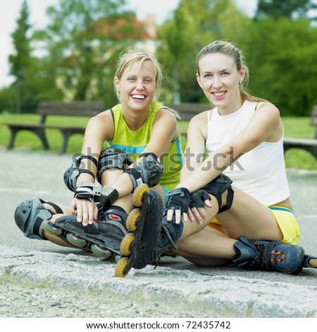 inline skaters - stock photo