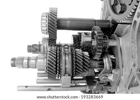 inner auto gearbox on isolated background - stock photo