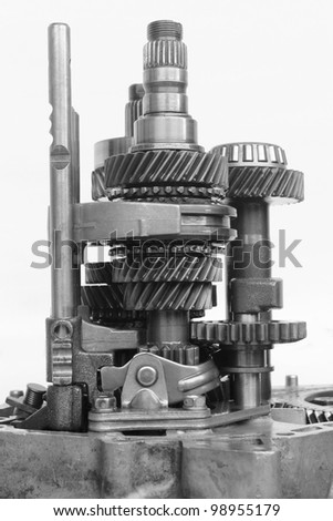 inner automotive gearbox on isolated background - stock photo