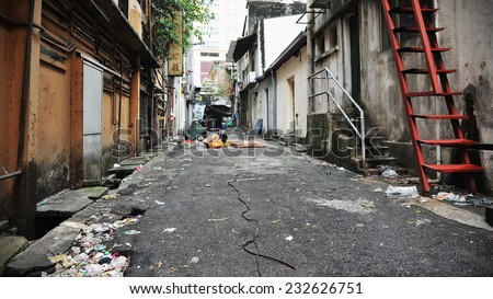Inner City Alley Background - stock photo