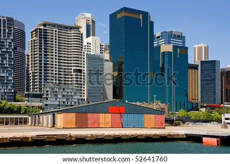 Inner-city buildings and wharf, Darling Harbour, Sydney, Australia - stock photo