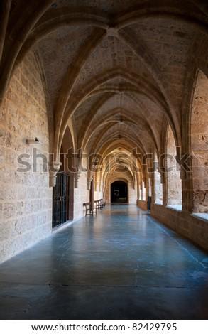 "Inner cloister at the ""Monasterio de Piedra"", Zaragoza, Spain. - stock photo"