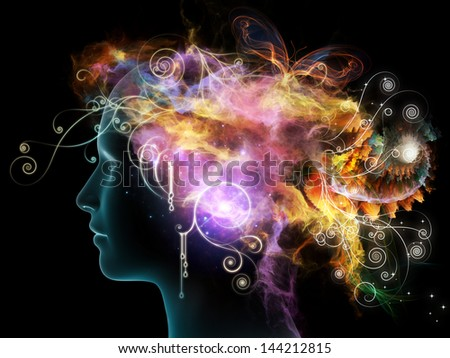 Inner Colors series. Composition of female head drawing and decorative elements suitable as a backdrop for the projects on design, imagination, and creativity - stock photo