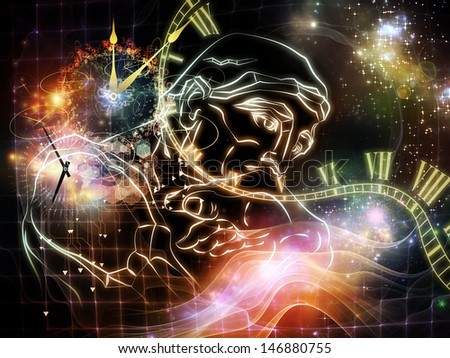 Inner Colors series. Design composed of sketch of Rodin's Thinker and time symbols as a metaphor on the subject of time and technology - stock photo