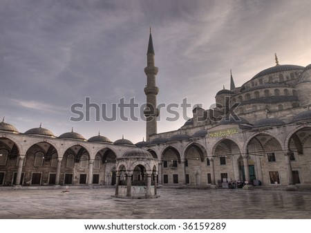 """Inner courtyard of Sultanahmet (""""Blue"""") Mosque in Istanbul, Turkey - stock photo"""