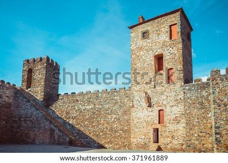 Inner domain of the fort castillo of Braganza. - stock photo