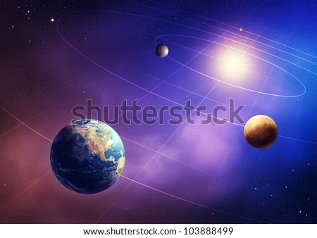 Inner four solar system planets (Elements of this image furnished by NASA- earthmap  http://visibleearth.nasa.gov) - stock photo