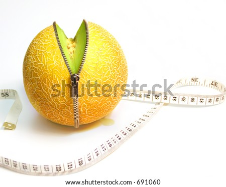 Inner Fruity, Unzipped Concept for Health, Diet, and Beauty - stock photo