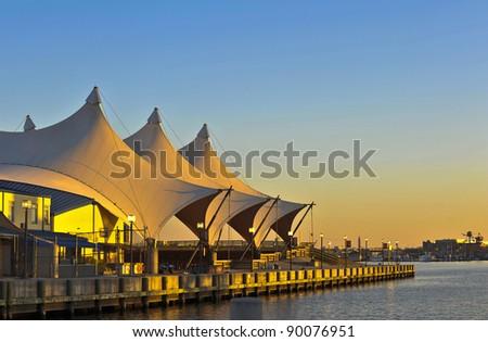 Inner Harbor amphitheater at sunset. - stock photo