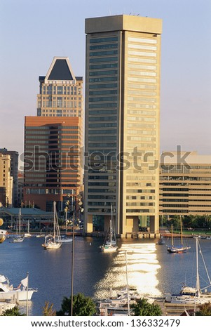 Inner Harbor and Trade Center building, Baltimore, MD - stock photo