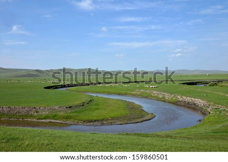 "Inner Mongolia Hulunbeier ""China's first Qushui"" in mergel Golden Horde Khan Mongolian tribes riverside grassland - stock photo"