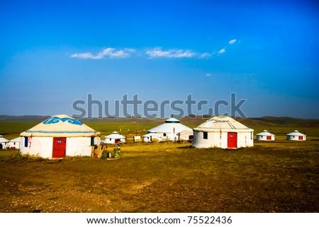 Inner Mongolia yurt in the grass land. - stock photo