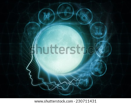 Inner Moon series. Composition of moon, human profile and astrological symbols on the subject of spirit world, dreams, imagination, astrology and the mind