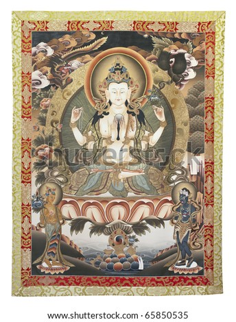 Inner part (cut out) of thangka (tangka, thanka or tanka) - a painted Buddhist banner with Chenrezig (Avalokitesvara). Private collection - property release.