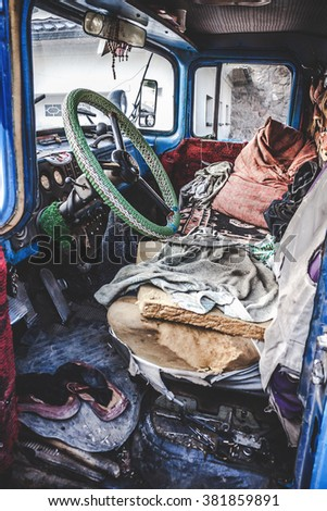 inner space of the driver's cab of an old truck