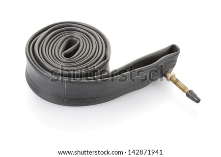 Inner tube for bicycle isolated on white, clipping path included - stock photo