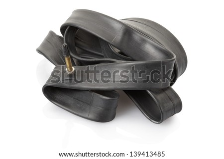 Inner tube for bike isolated on white, clipping path included - stock photo