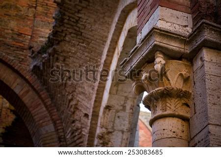 Inner view of San Galgano Abbey near Siena, Tuscany, Italy - stock photo