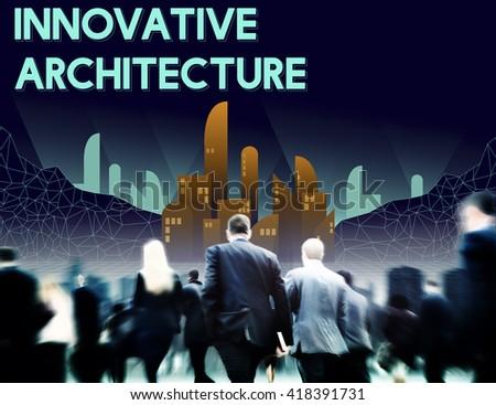 Innovate Innovative Architecture Skyscraper Structure Concept - stock photo