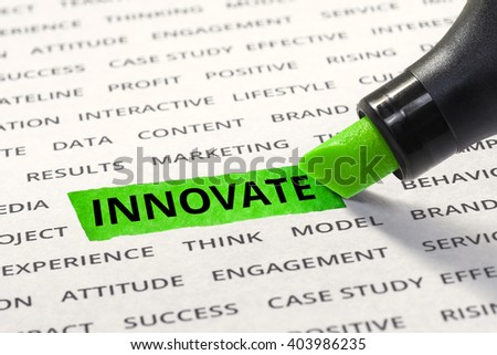 Innovate message highlighted with marker on paper of other related words. For direction of business strategy success concept - stock photo