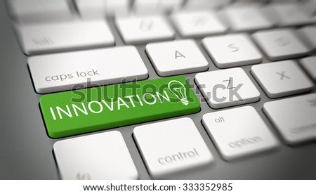Innovation and originality concept with white text - Innovation - and a light bulb icon on a green enter key on a white computer keyboard viewed at a high angle with blur vignette. 3d Rendering. - stock photo